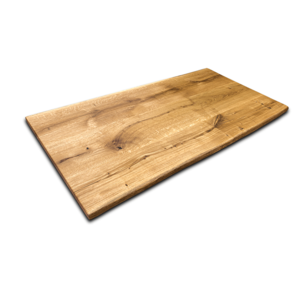 Tischplatte Eiche Rustikal geölt mit Baumkante Massivholz 180x90 cm