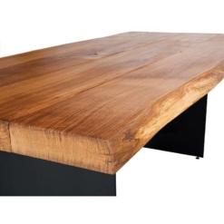 Esstisch Eiche massiv geölt mit Baumkante und Stahlwangen