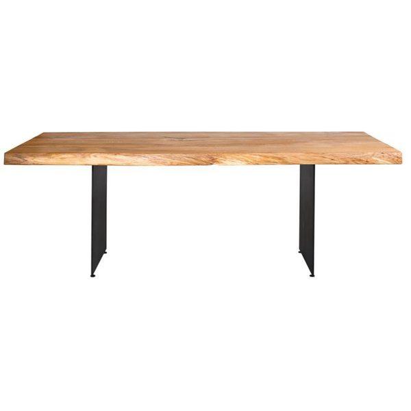 Esstisch mit Baumkante und Stahlwangen 200x100 cm