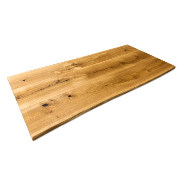 Tischplatte Eiche Massivholz Baumkante geölt Wildeiche