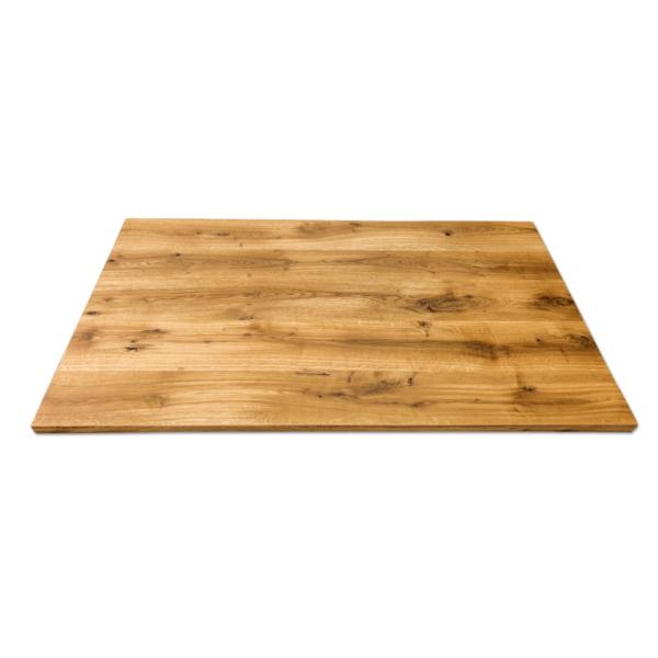Tischplatte Massivholz Eiche Wildeiche geölt mit Baumkante 160x90 cm