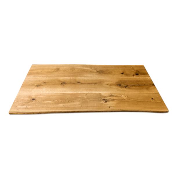 Tischplatte Massivhol Eiche rustikal geölt mit Baumkante 200x90 cm