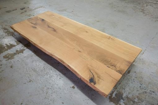 Tischplatte Eiche massiv geölt mit Baumkante Wildeiche rustikal