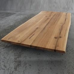 Tischplatte Eiche massiv mit Baumkante geölt Wildeiche