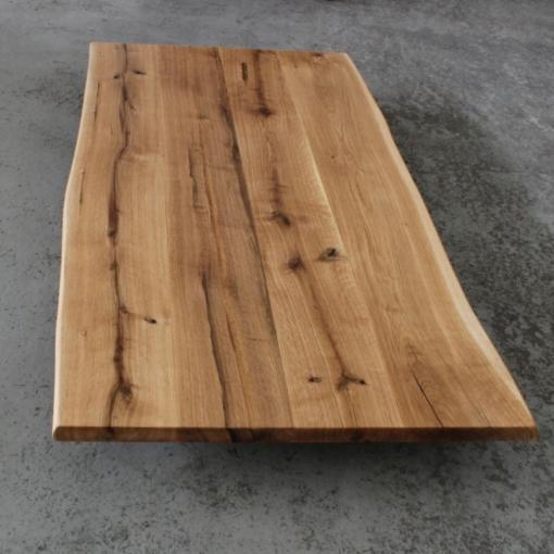 Tischplatte Eiche massiv mit Baumkante geölt