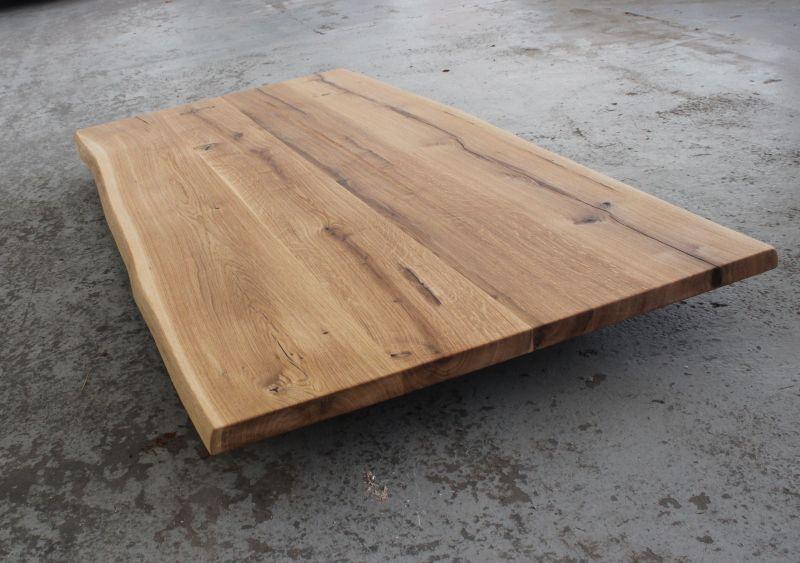 Tischplatte massivholz baumkante  Tischplatte Eiche massiv geölt mit Baumkante 220x90x4 cm