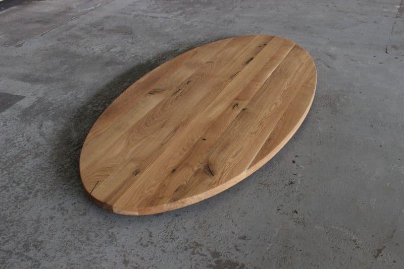 tischplatte oval eiche massiv 180x90 cm massivholz ge lt. Black Bedroom Furniture Sets. Home Design Ideas