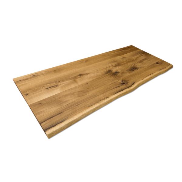 Tischplatte Massivholz Eiche Rustikal mit Baumkante geölt 200x80cm