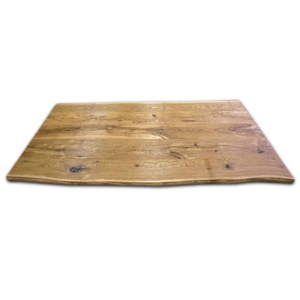 Tischplatte Eiche massiv rustikal gebürstet geölt mit Baumkante 240x90x5 cm