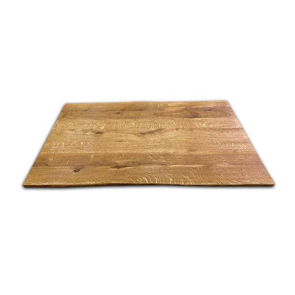 Tischplatte Eiche massiv gebürstet geölt 180x90x5 cm mit Baumkante
