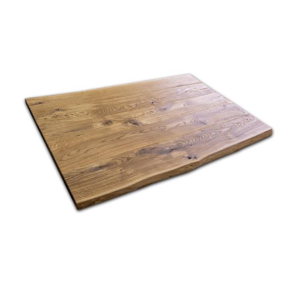 Tischplatte Eiche gebürstet geölt 140x90x5 cm mit Baumkante