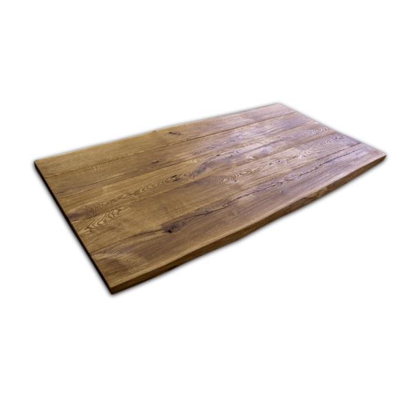 Tischplatte Eiche gebürstet Baumkante massiv geölt 180x90x5 cm