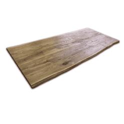 Tischplatte Eiche rustikal gebürstet Altholz 240x90x5 cm geölt mit Baumkante