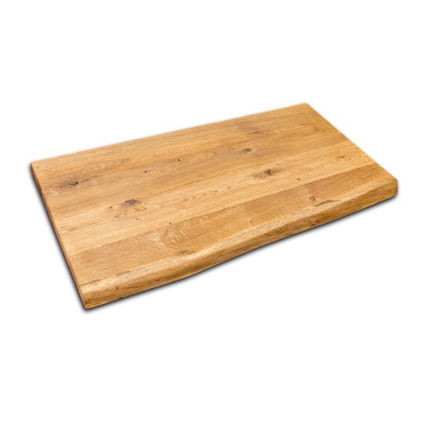 Waschtischplatte Eiche massiv geölt mit Baumkante gebürstet 100x50x5 cm