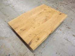 Tischplatte Massivholz Eiche Rustikal mit Baumkante geölt 140x90cm