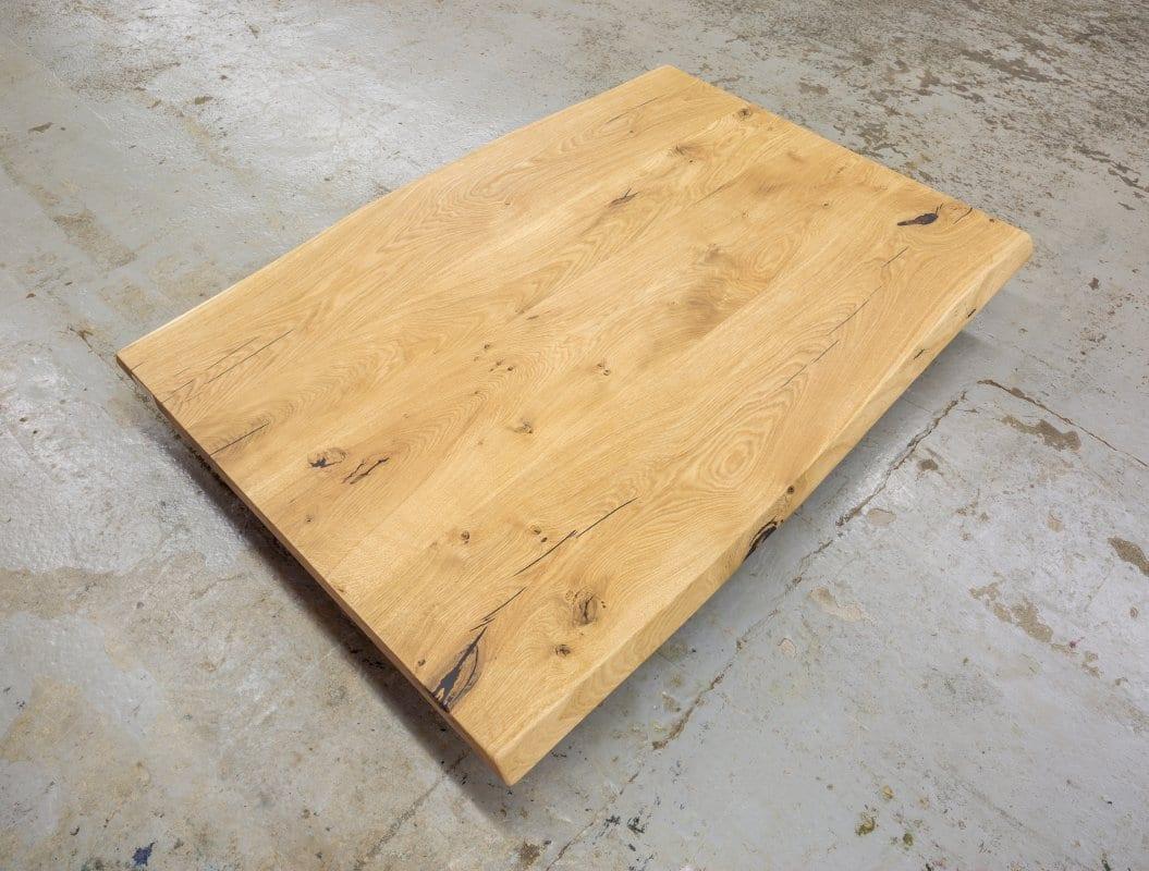 Tischplatte Eiche massiv geölt mit Baumkante beidseitig 260x100x4 cm