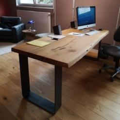 Schreibtischplatte Eiche massiv rustikal mit Baumkante